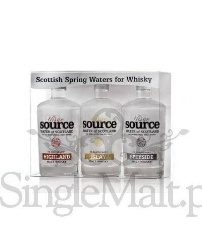 Zestaw wody szkockiej Uisge Source z trzech regionów / Speyside, Highland, Islay / 3 x 0,1 l